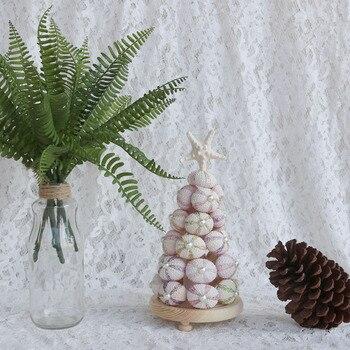 Free Shipping(1set/lot)Flashing Sea Urchin Christmas Tree Natural Shell Beach Wedding Decor Handmade Coastal Home Decoration