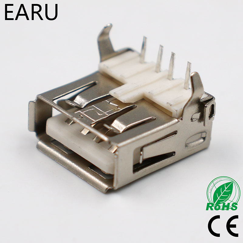 10pcs USB 2.0 4Pin A Type Female Socket Connector G54 2 Feet 90 Degree Data Transmission Charging Plug Adapter PCB SDA Cable 10pcs g55 usb 2 0 4pin a type female socket connector curly mouth bent foot for data transmission charging sell at a loss usa