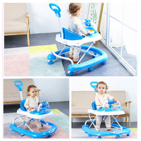 Baby Rollover Learning Walker Stroller Pushchair Baby Walker with 8 Wheels Music Adjustable Height Foldable Brake Walker Car