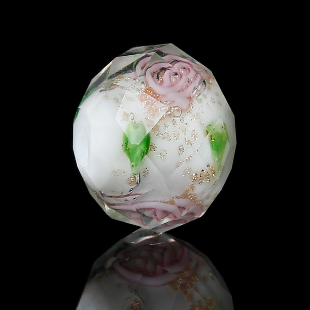 2019 Latest Design Doreenbeads Lampwork Glass Beautiful Beads Round Multicolor Flower Pattern Faceted About 10mm X8mm, Hole: 1.2mm-1.7mm, 2 Pieces