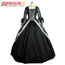 Victorian Rococo Costume Womens Party Masquerade Black Vintage Cosplay Lace Linen Satin Long Sleeves