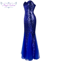 Strapless Blue Sequins Triangle Tiered Waist Mesh Long Evening Dress Blue