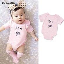 Pretty Pink Color Baby Girls Bodysuits 0-24Months Summer Newborn Jumpsuits Child