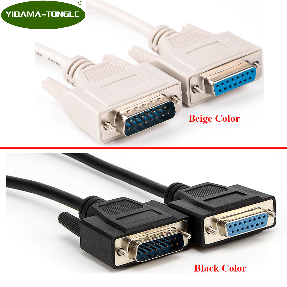 DB15 Male To Female Parallel Extension Cable 15pin 2 Rows Pinout Black Beige Color Optional 1.5m