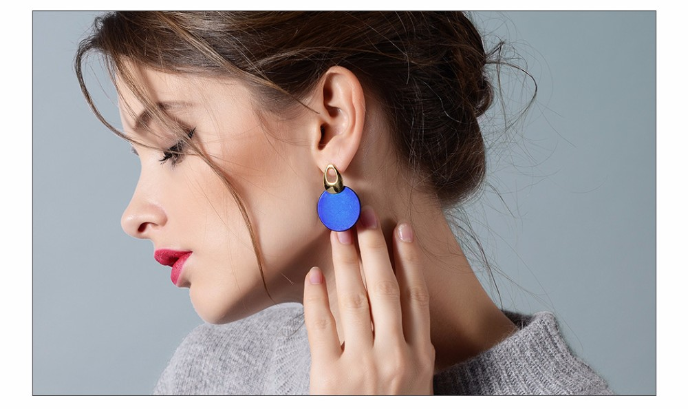 Viennois Fashion Jewelry Blue & Red Dangle Earrings for Woman Rose Gold Color Earrings Trendy Long Round Earrings 4