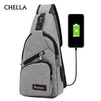 Men Anti Theft Canvas Backpack USB Rechargeable Chest Bag Casual Men Women Chest Shoulder Bag S