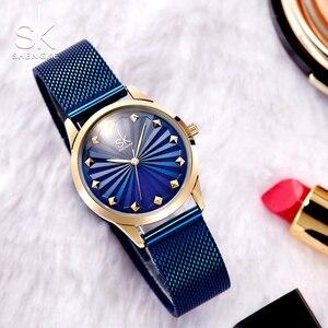 Image 4 - Shengke Wrist Watch Women Fashion Stainless Steel Quartz Watches Bracelet Clock Relogio Feminino 2018 SK Luxury Ladies Watches