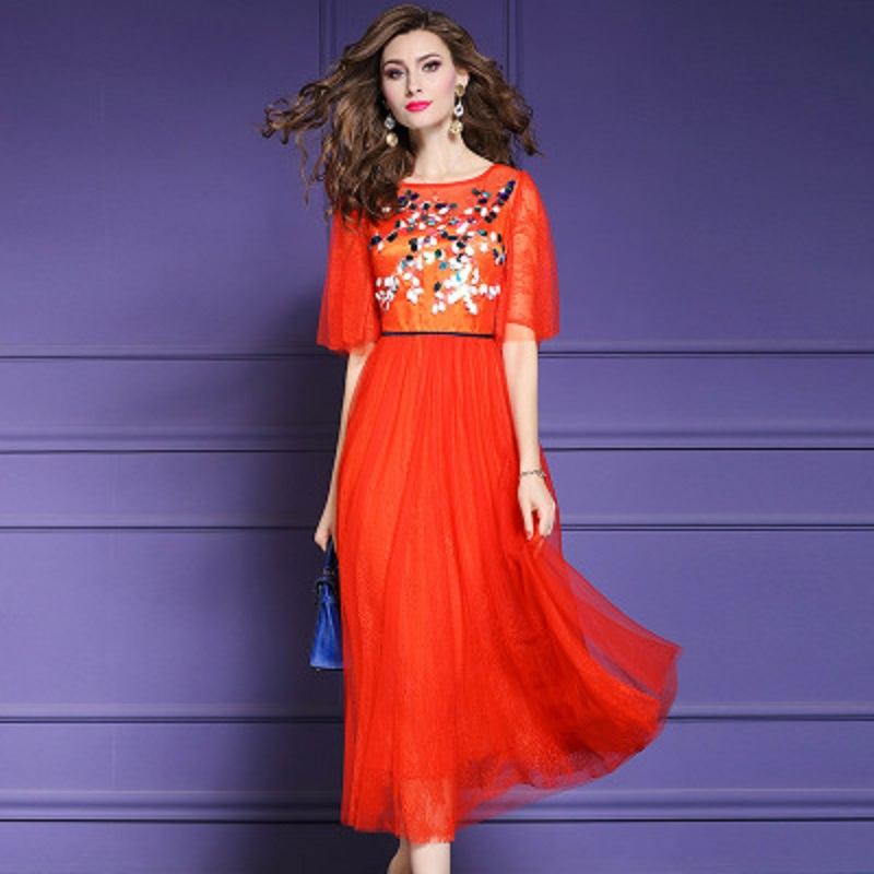 Runway 2019 new high quality clothes Sequins Women Vintage summer Lace long sexy club dress Plus Size ladies red party Dresses-in Dresses from Women's Clothing    1