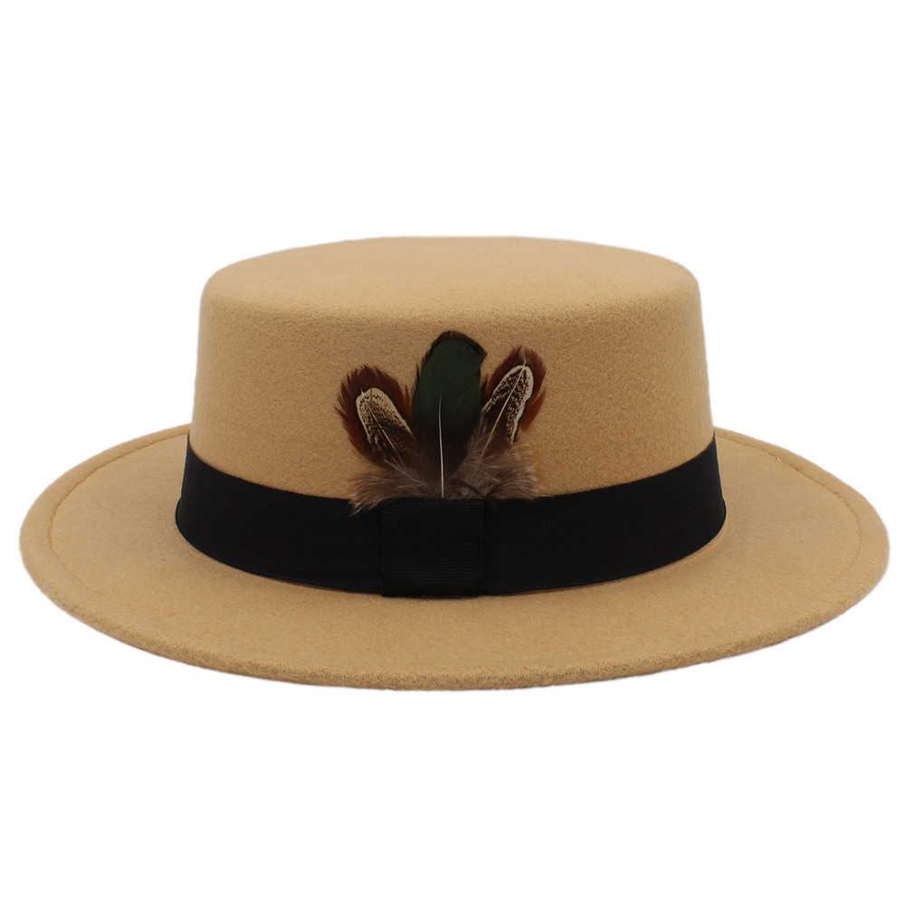 Winter Autumn Women Flat Fedora Hat for Elegant Lady Wool Pork Pie Boater Sombrero Mujer Hat with Feather Fascinator Hats