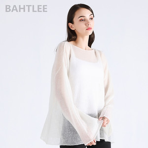 Image 2 - BAHTLEE spring autumn womens mohair wool knitted pullovers sweater slash neck flare sleeve thin looser and comfortable