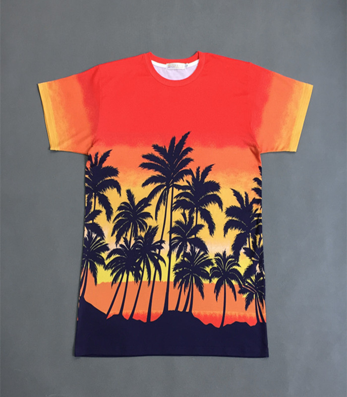 Kpop home New BTS Bangtan boys SUGA Bigbang TaeYang Same Hawaii style coconut tree orange T Short Sleeve Tshirt Tee