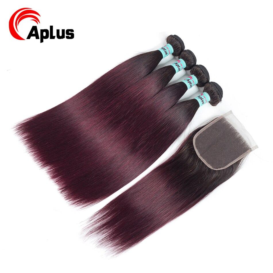 Aplus Hair Straight Malaysian Hair Bundles With Closure 1B 99J Ombre Hair 4 Bundles With Closure 5Pcs/Lot Two Tone Non-Remy Hair