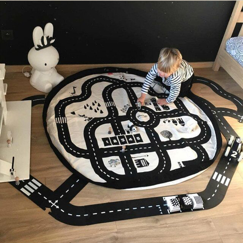 Baby New Style Play Mat Round Road Play Mat Activity Soft Cotton Floor Carpet Exploring  ...