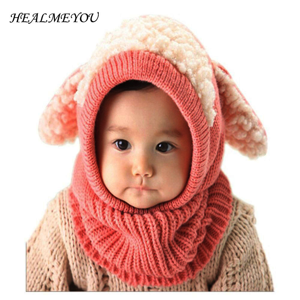 Kids Baby Winter Rabbit Ear Hats Lovely Toddler Beanie Cap Warm Baby Hat Hooded Knitted Scarf Set Fashion Ear Flap Caps Hot Sale