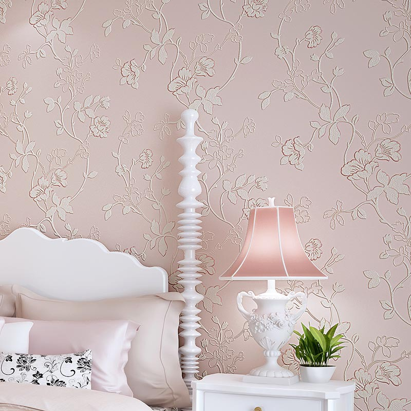 Non-woven Wall Paper for Walls,Flocking Floral 3D Wallpaper flowers Rustic floral wallpapers for bedroom papel de parede floral pastoral rustic wallpaper flower non woven wallpaper for walls living room wallpapers green floral wall paper roll wall patterns