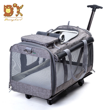 DannyKar 2019 New Foldable 20KG Medium And Large Pet Trolley Bag Breathable Fashion Portable Tug Out Cat Dog Cage