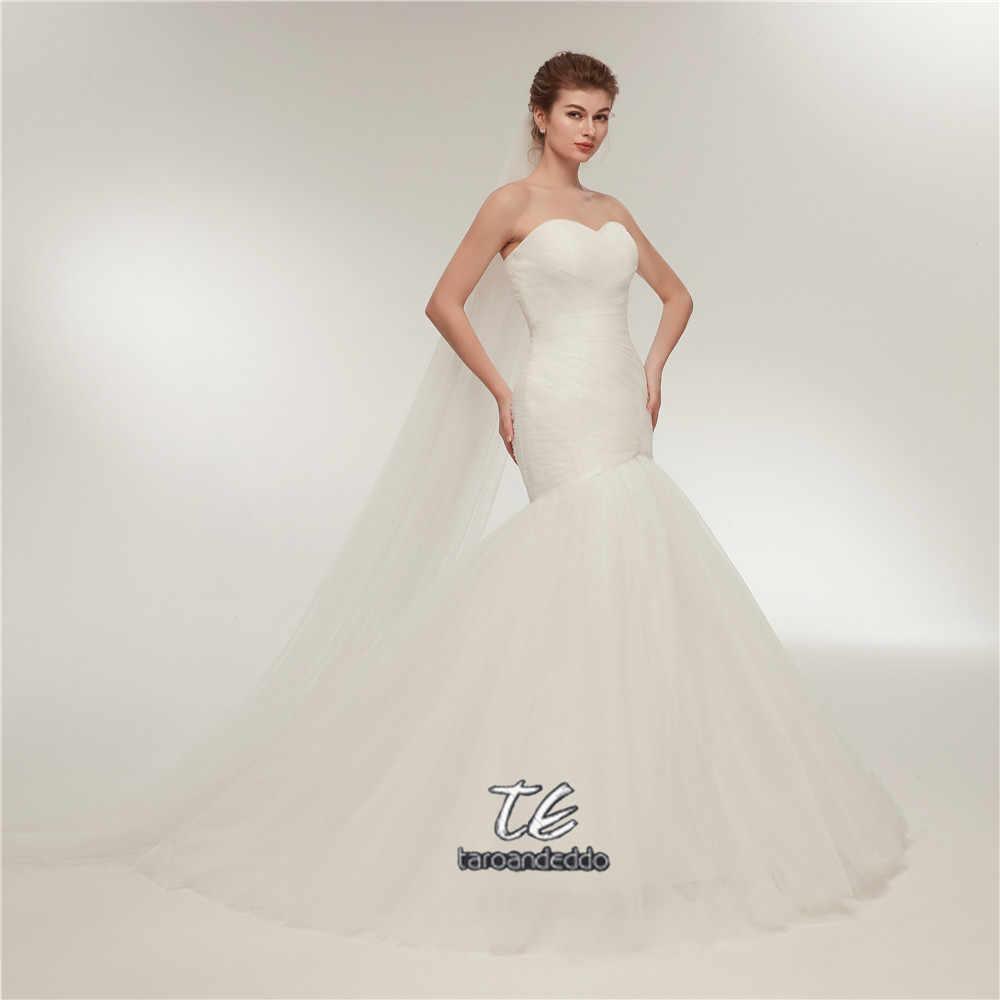 3ba72eadf90 ... В наличии новый Ruched лиф Лидер продаж Русалка свадебное платье  кружево Up белый цвета слоновой ...