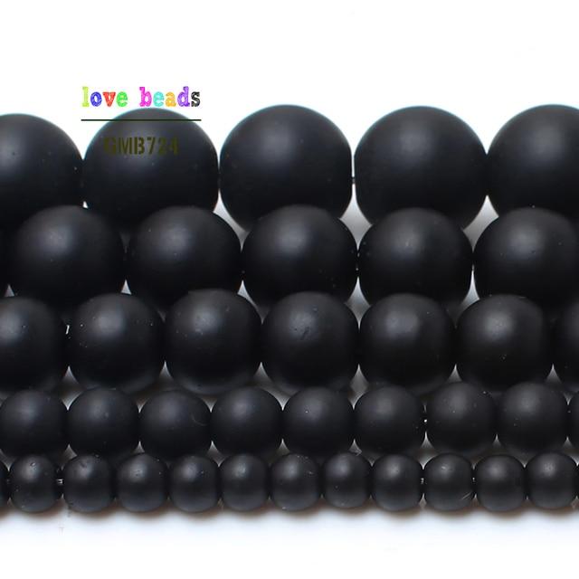 Naturalny kamień czarny matowy onyks agaty kule Frost matowy połysk Agat koraliki do tworzenia biżuterii 15.5 cali 4 6 8 10 12mm