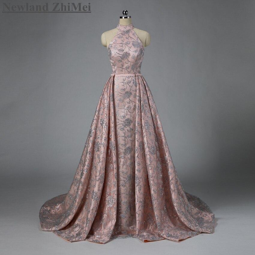Nouveauté argent Sequin dentelle robe de bal nue avec Train détachable de luxe col haut une ligne femme robes de soirée formelles