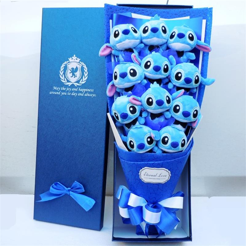 Cute Stitch stuffed catoon bouquet gift box Plush Toy Lovely Staffed Doll Best Gift for Children toy Christmas Valentine's gifts couple frog plush toy frog prince doll toy doll wedding gift ideas children stuffed toy