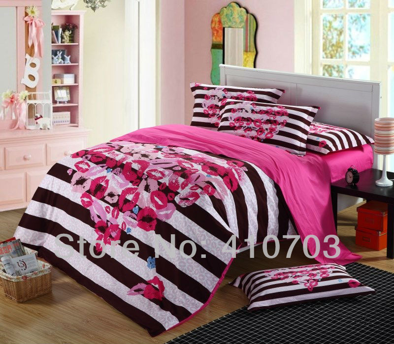 Black White Striped Kissing Cotton Full Queen King Size
