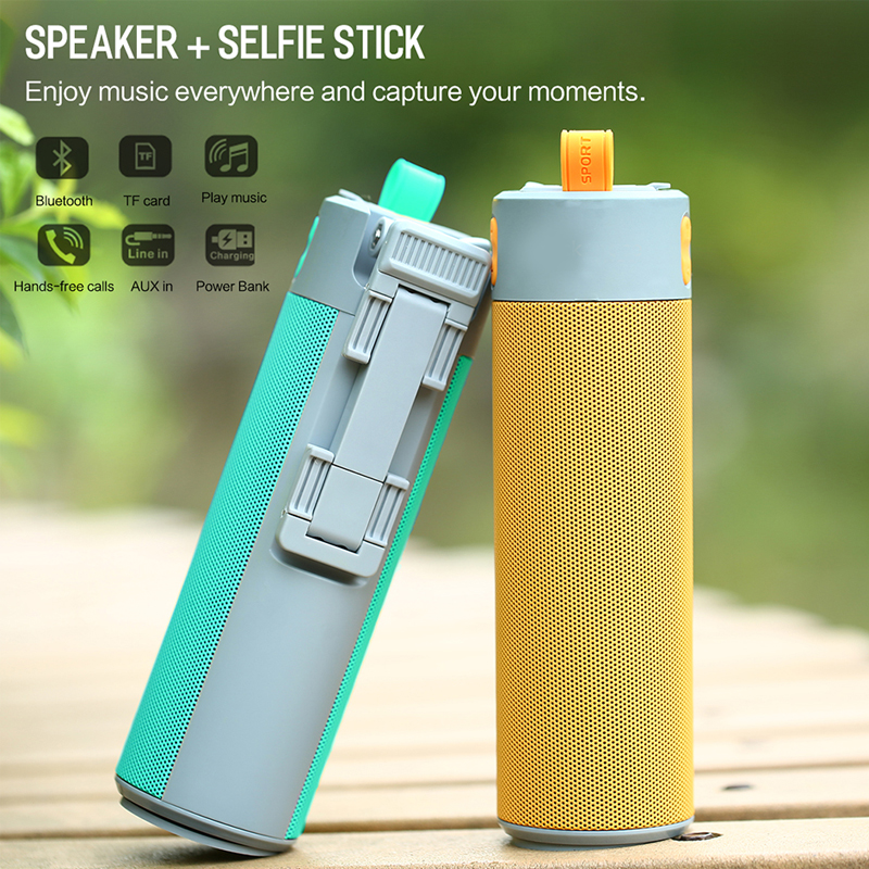 Wireless Bluetooth Speaker,Selfie Stick/Phone Holder Stand / Power Bank / Portable Speaker / TF Card playing 5 in 1 for iphone цена
