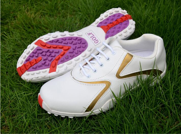 Professional Women golf shoes Ladies Golf Sports Shoes Light-weight waterproof breathable Anti-slipping microfiber sneakers
