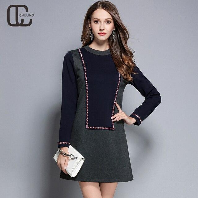 463d66f172511 Nuevo Otoño Invierno Patchwork Mujer Vestidos Elegantes cuello redondo  cinta A-Line más tamaño Casual