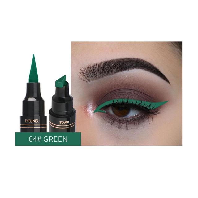 1Pc Liquid Eyeliner Stamp Pen Matte Black Colorful Lazy Eyes Make Up Waterproof Quick Dry Blue Green Red Yellow Eye Liner Pencil 5
