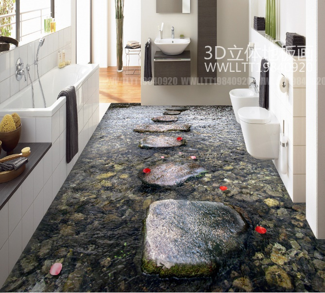 [Self-Adhesive] 3D Dark Stones Sea 33 Non-slip Waterproof Photo Self-Adhesive Floor Mural Sticker WallPaper Murals Print Decal