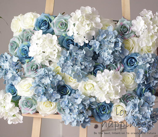 10pcs/lot Artificial Silk Rose With Hydrangea Flower Wall White U0026 Blue Flower  Wall Decoration