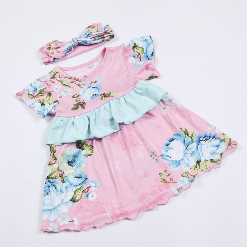 2016 new baby clothes newborn baby floral rompers with headband boutique toddler outfit christmas baby gils clothes