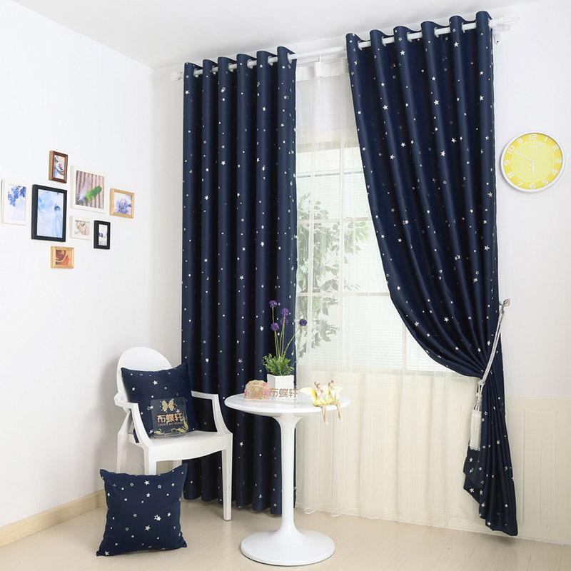 completo apagn cortinas de la sala la cortina de tela azul tabique corto estrella nios paneles
