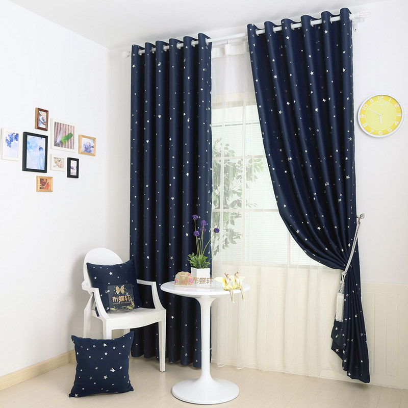 Full Blackout Curtains Living Room Ready Made Curtain Fabric Blue Room Divider Star Short Window Drapes