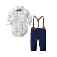 Infant Newborn Baby Boy Gentleman Clothes Formal Suspender Blouse Pants and Romper Shirt with Bow Tie 3pcs Outfit Clothing Set