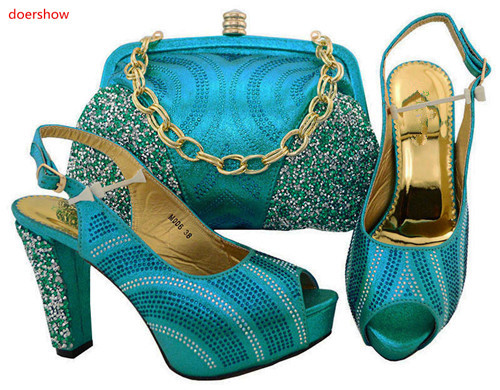 doershow  sky blue To Match African Wedding Shoes and Bag Set Rhinestone Italian Shoes With Matching Bag Nice Fashion TGF1-44doershow  sky blue To Match African Wedding Shoes and Bag Set Rhinestone Italian Shoes With Matching Bag Nice Fashion TGF1-44