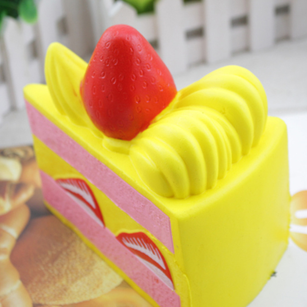 Satkago Squishy Strawberry Cake Shape Triangle Cream Scented Slow Rising Squishies Relieves Anti Stress Toy