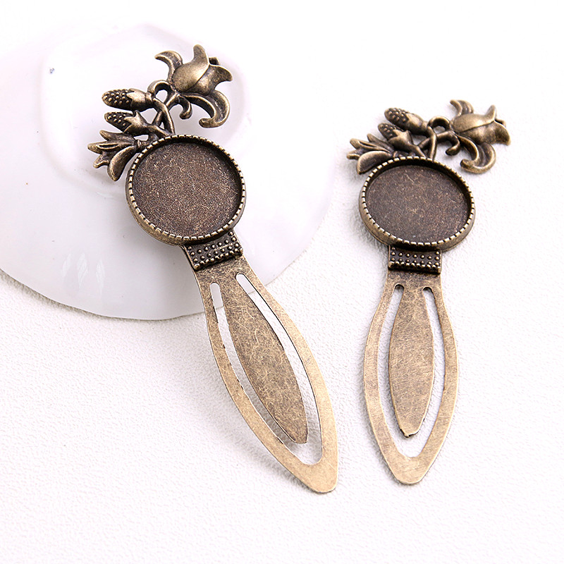 New Fashion 2pcs 20mm Inner Size Antique Bronze Round Flower Vintage Style Handmade Bookmark Cabochon Base Cameo Setting