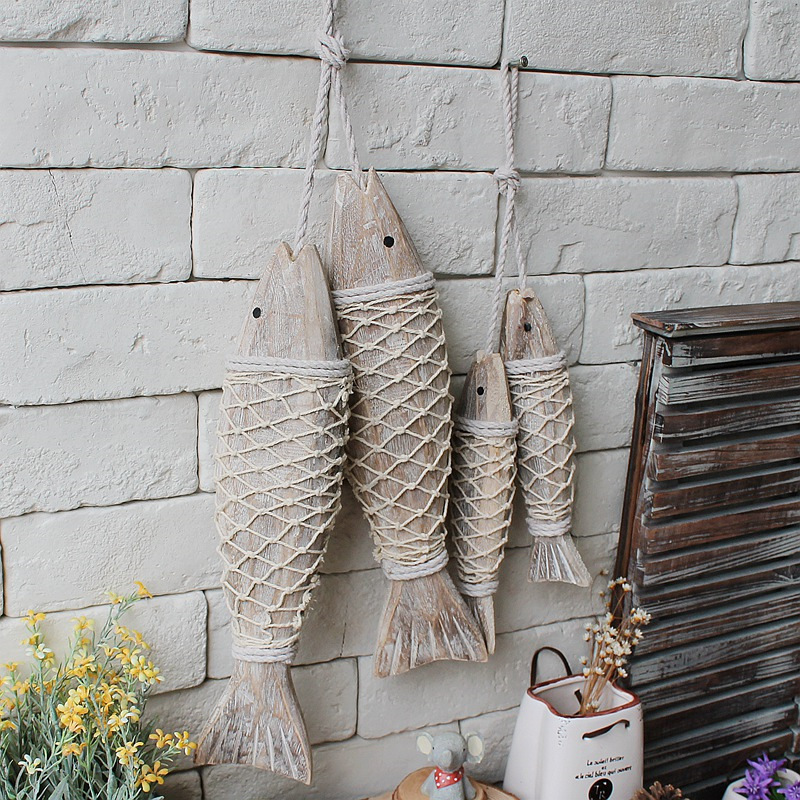 Fish Wall Decor Wood : Mediterranean style wooden fish wall hanging decorated