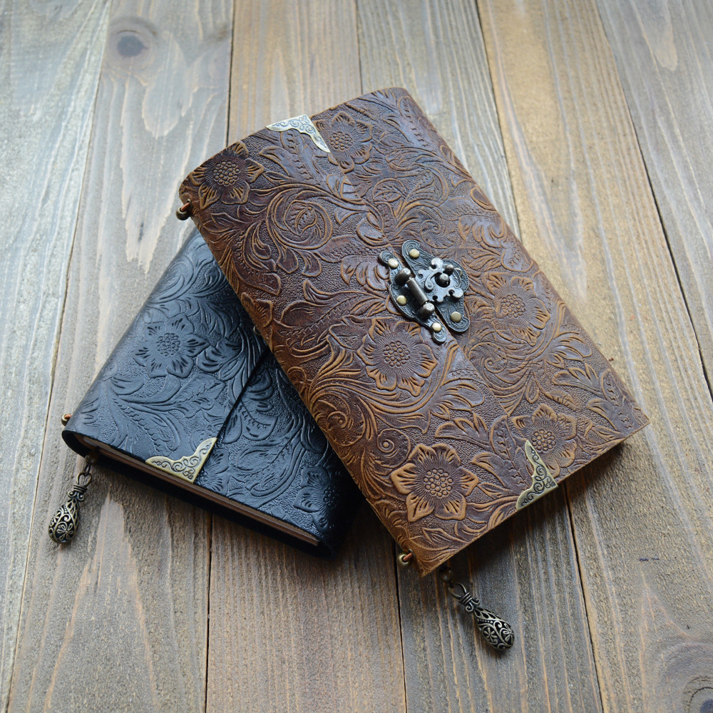 Diary with Lock, Notebook Sketch Book Vintage Style Genuine Leather Book Note Book Travel Diary