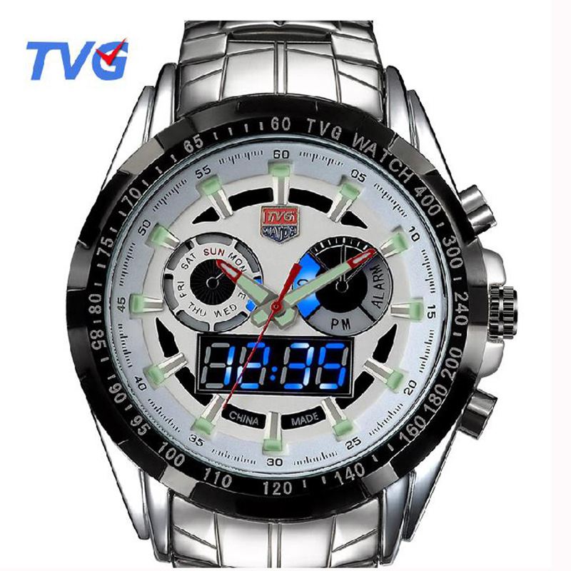 TVG Sports Waterproof Watches Stainless steel Male Army Military Mens Quartz Wristwatches Dual time Display Relogio