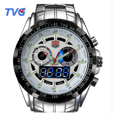 TVG Sports Waterproof Watches Stainless steel Male Army Military Mens Quartz Wristwatches Dual time Display Relogio Masculino