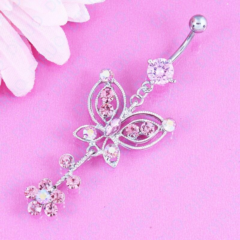 Милые розовые Самоцветы, бабочка в форме цветка, модные ювелирные изделия, кнопки живота, пупок 14 г, нержавеющая сталь 316L