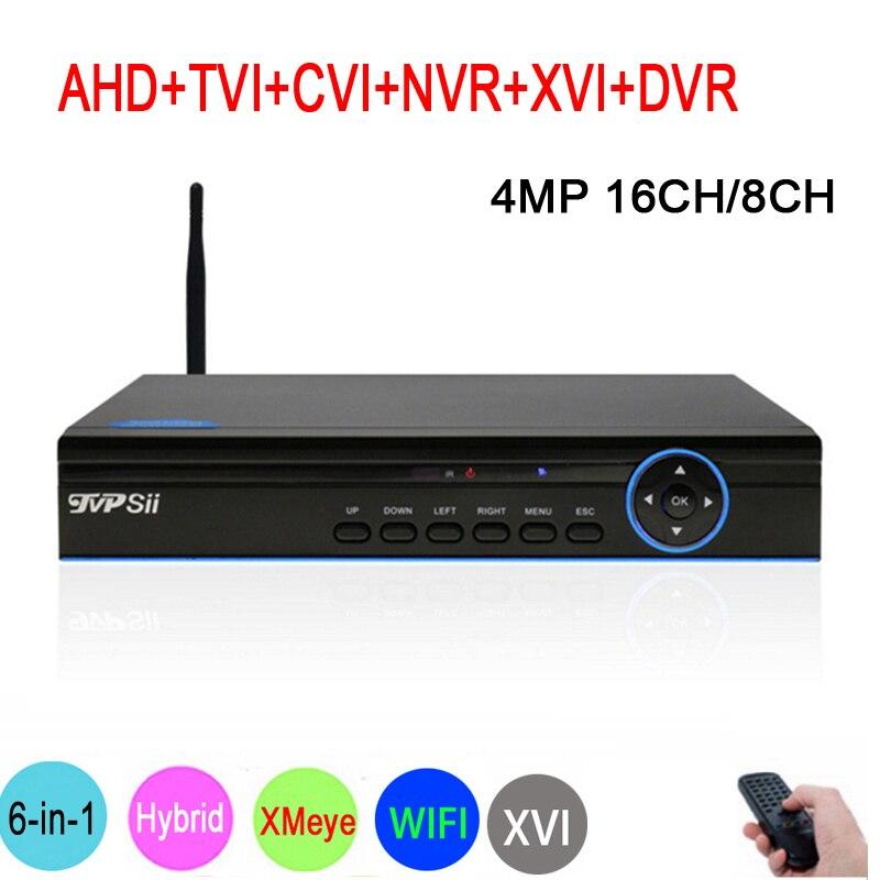 Синий Панель xmeye Hi3531A H264 + 4MP 16CH/8CH 6 в 1 Гибридный WI-FI TVi CVI NVR AHD видеонаблюдения DVR видео перекодировщик Бесплатная доставка
