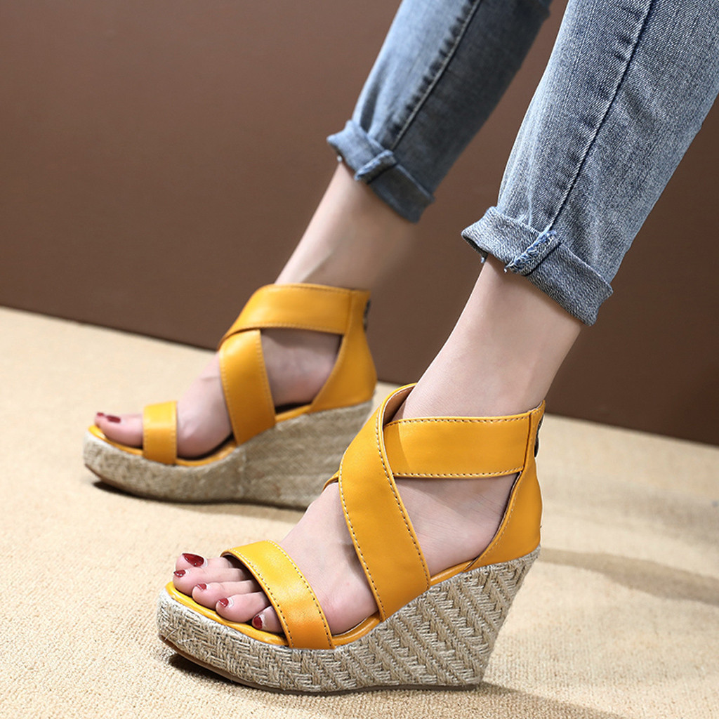 Wedges Shoes Footwear Sandal Platform Party-Sandals Cross-Strap Female Ankle-Wrap Peep-Toe