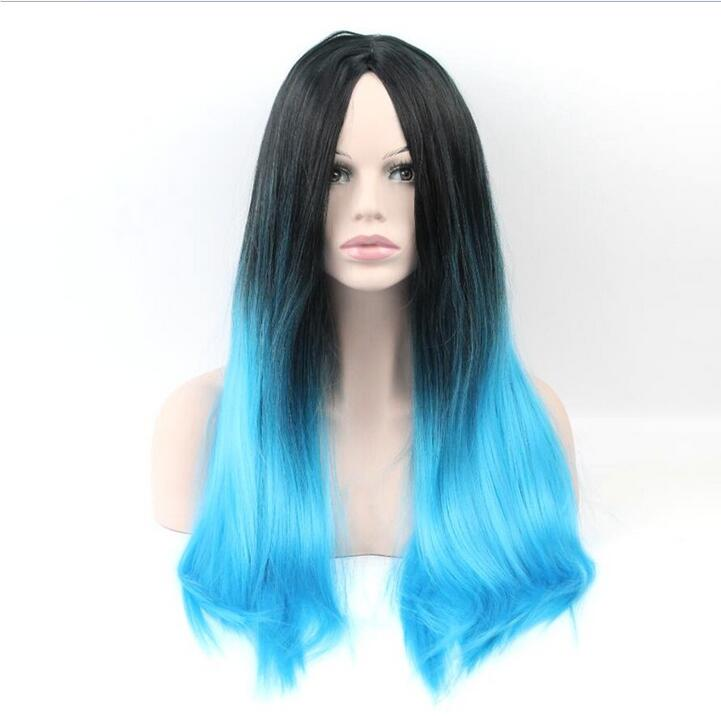 HOT! Ombre Sky blue Wigs Female Wig Synthetic for Women Long Straight Hair Heat Resistant Cheap