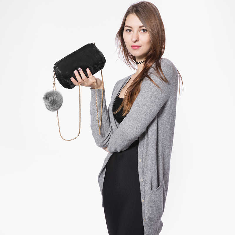 Bolso bandolera de mujer de moda de marca LOVEVOOK con bola de piel de zorro extraíble y correa de cadena de serpiente bolso bandolera