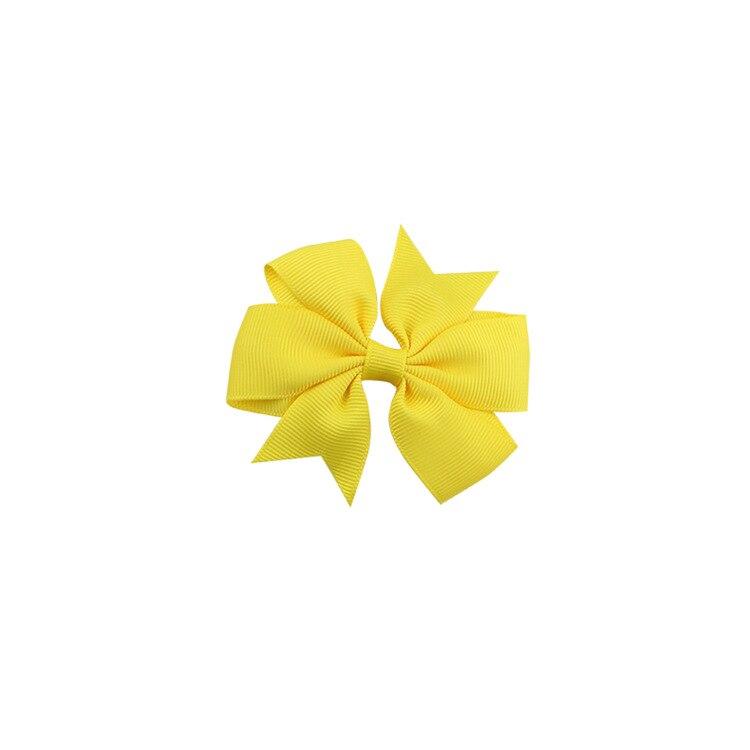 40 цветов сплошная корсажная лента банты заколки шпилька девушка бант для волос, бутик заколки для волос аксессуары для волос - Color: a18 Yellow