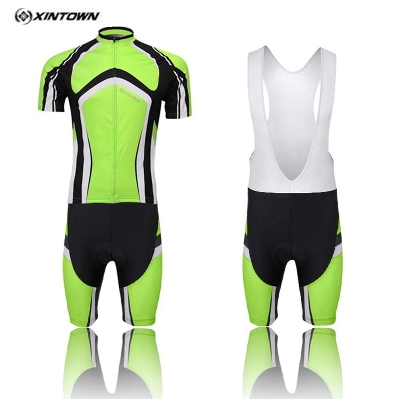 XINTOWN дугообразные зеленый Задействуя Джерси Нагрудник шорты Белый Мужчины Велосипед Одежда Pro MTB Велосипедов Топ Велоспорт Носить Рубашки