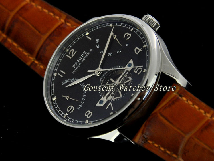 43mm <font><b>Parnis</b></font> Date Black Dial Power Reserve Deployant Stainless Steel Men's Watch image
